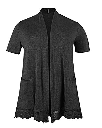 ZERDOCEAN Women's Plus Size Short Sleeve Lace Trim Lightweight Printed Drape Cardigan with Pockets Dark Gray 1X