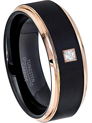 0.05ctw Solitaire Princess Cut Diamond Tungsten Ring - 8MM Brushed 2-Tone Rose Gold Tungsten Carbide Wedding Band - April Birthstone Ring - s11 ()