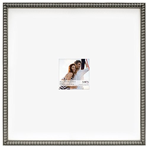 MCS 20x20 Inch Signature Beaded Frame with 5x5 Inch Mat Opening, Pewter -