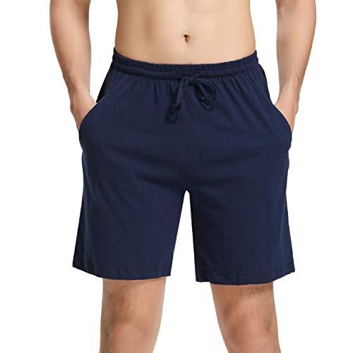 Aibrou Mens Sleep Shorts Cotton Pajama Shorts Knit Sleepwear Lounge Shorts with Pockets Navy Blue L