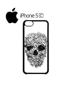 Skull Flower Retro Vintage Mobile Cell Phone Case Cover iPhone 5c White