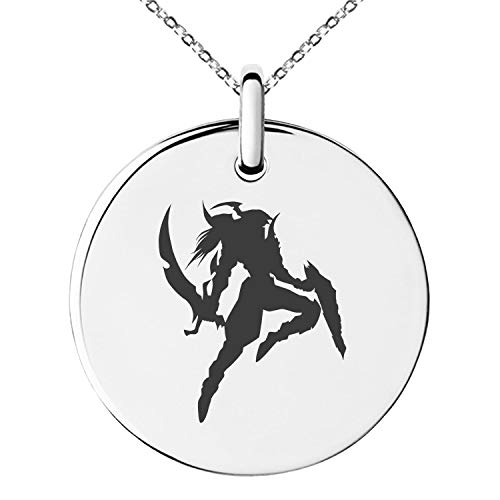 - Tioneer Yu-Gi-Oh! Black Luster Soldier Silhouette Stainless Steel Small Medallion Circle Charm Pendant Necklace