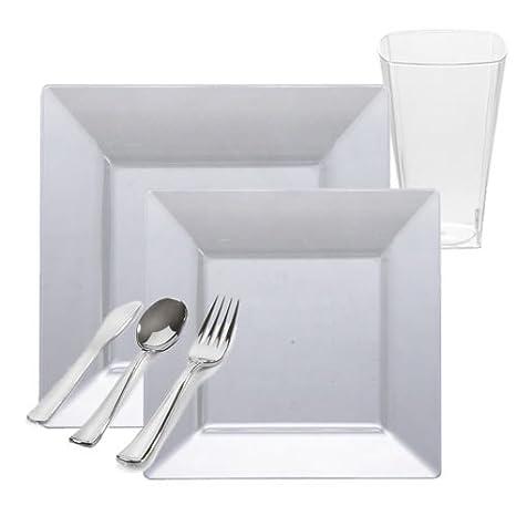 Posh Party Supplies - Vajilla cuadrada de plástico transparente para 20 invitados, platos de postre