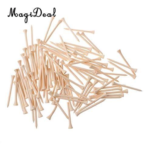 Value-5-Star - High Qaulity Pack of 100 Burlywood Wooden Wood Golf Tees - 83mm (3 1/4') Long Golf ()