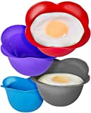egg poacher tray - Silicone Egg Poaching Cups - Poaches Eggs To Perfection Without the Stress or Mess - Set of 4 Nonstick Pods for Easy Release and Cleaning - BPA Free, Microwave, Stove Top and Dishwasher Safe