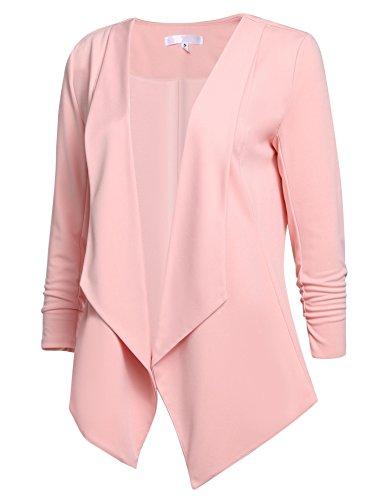 Bifast Women's Pink Formal lightweight Cardigan Open Front Blazer Jacket, Pink, (Authentic Pink Ladies Jacket)