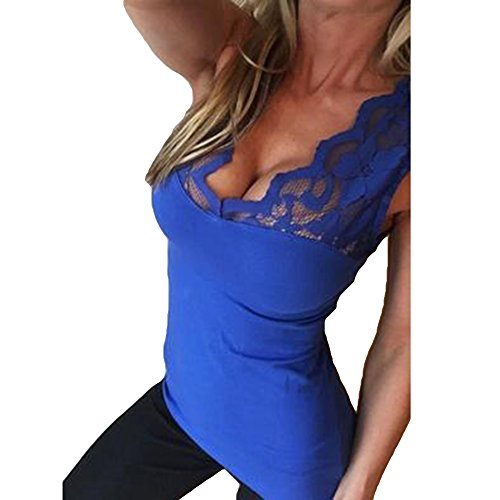 Femmes Dentelle fonc Blouse Cou Casual D't V Tops Clubwear Dentelle De pour Chemises Base Manches Fit Chemisier Tops Dames Bleu sans Slim Sexy Chemise Juleya T q5X4B7Www