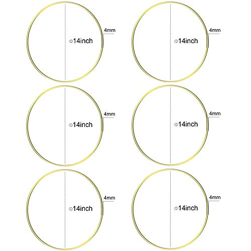 HOHIYA Metal Ring Macrame Hoop Dream Catcher Craft Round Brass Plated 14inch(Gold,Pack of 6) (Hoop Gold Large)