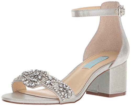 Blue by Betsey Johnson Women's SB-Mel Heeled Sandal, Silver, 6.5 M US