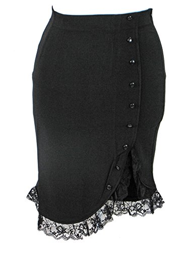 Plus Size Black Gothic Retro 50's Rockabilly Pinup Lace Ruffle Skirt (1X)