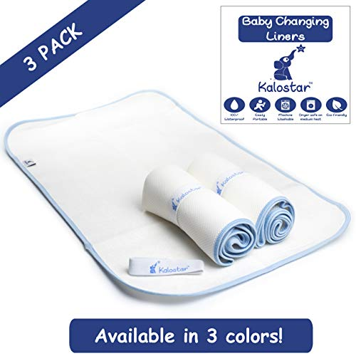 - Waterproof Baby Changing Pad Liners Washable Dryer Safe Portable Extra Large 3 Pack Kalostar (Blue)