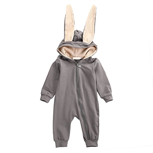 12-18 Month Old Halloween Costumes (Butterfly Iron Toddler Baby Rompers Winter Autumn Hooded Newborn Infant Rabbit Ears Pijamas Costumes)
