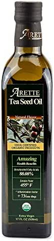 Arette Organic Tea Seed Oil - Extra Virgin Cold Pressed High Heat Cooking Oil, Natural, 17 ounces