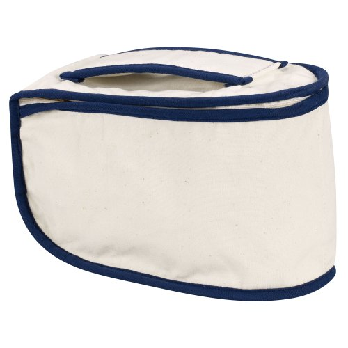 Household Essentials 900 Polyester Cotton Canvas Iron Caddy Storage Bag, Natural, Blue Trim (Case Iron Carrying Steam)