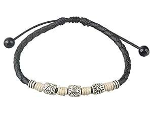 Ancient Tribe Handmade Adjustable Black Leather Anklet,Women's (White)