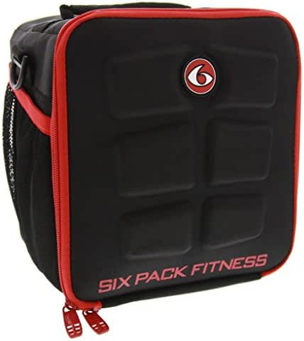 6 Pack Fitness Cube Americas #1 Choice in Meal Management 3 - Meal (Black/Red)