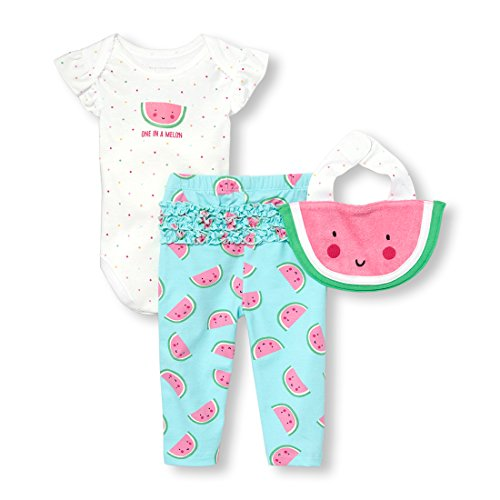 The Children's Place Baby Girls 3 Piece One in a Melon Bodysuit Pant and Bib Bundle Set, Azureus, 3-6MONTHS -