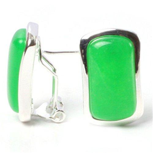 GEM-inside Earrings Green Aventurine Gemstone Beads Rectangle Natural Tibetan Silver Dangle Stud Hoop Fashion Jewelry for Woman 14x22mm