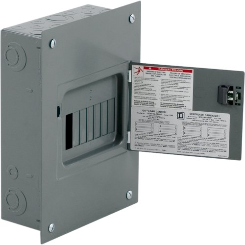 Square D by Schneider Electric QO816L100DF QO 100-Amp 8-Spaces 16-Circuit Indoor Flush Mount Main Lugs Load Center with Cover and - Door Main