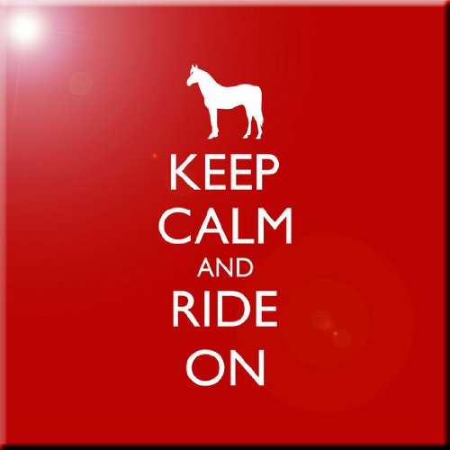 4 by 4-Inch Rikki Knight Keep Calm and Ride on Red Color Design Art Ceramic Tile