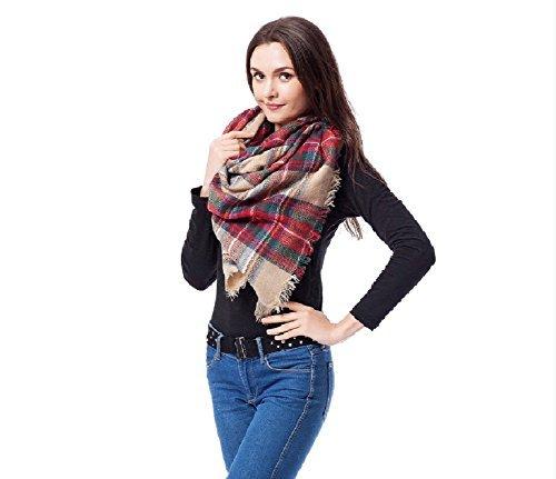 Moxeay Women Blanket Oversized Tartan Scarf Wrap Shawl Plaid Cozy Checked Pashmina (M820)