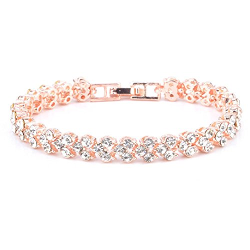 AIMTOPPY New Fashion Roman Style Woman Crystal Diamond Bracelets Gifts (Rose Gold)