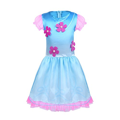TiaoBug Kids Girls Princess Poppy Trolls Costume Short Bubble Sleeves Dress with Wig Fancy Outfits Halloween Party Cosplay BlueΠnk 18-24 -