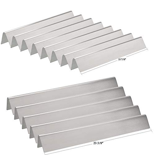 Hisencn Replacement Stainless Steel Flavorizer Bars, Heat Shield Plate Tent Deflector for Weber Platinum Series I and II, and Genesis 1000-5500 Gas Grills, 7538, Set of 13, 8 Short & ()