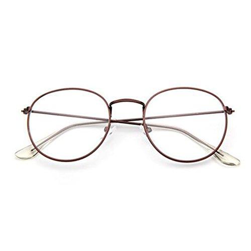 mujeres lens Metal Metal y hombres marrón Hzjundasi Clear para Retro Frame Moda Vintage Gafas Gafas Uxtw4wOCnq