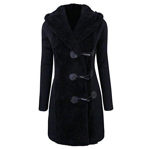 Culater Mujeres Moda Invierno Gruesos Botones Cálidos Abrigo Parka Hoodie Outwear Negro
