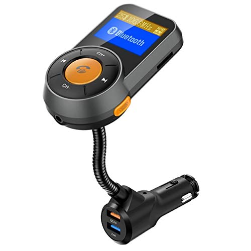Bluetooth FM Transmitter,MQOUNY QC3.0 Wireless Bluetooth FM Radio Car Kit Adapter Car Charger with Hands Free Calling, Dual USB Ports (5V/2.4A) Support TF Card. (Black One)