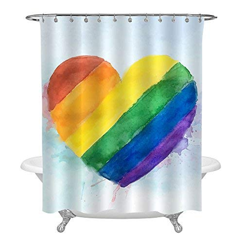 MitoVilla Watercolor Heart Home Decor Shower Curtain, LGBT Pride Rainbow Heart Background Fabric Bathroom Decor Set with Hooks, 72 Inches Standard Size (Hearts Shower Curtain Set)