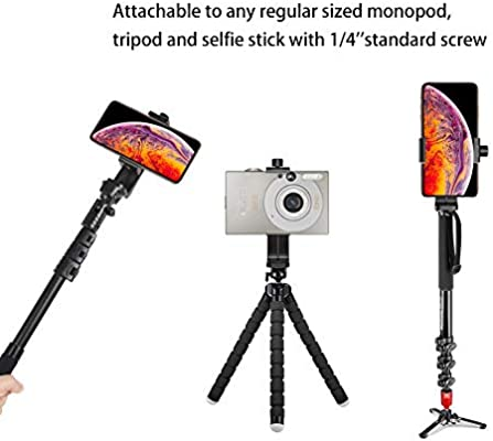 Camera Stand MARRRCH Tripod Phone Mount Holder Head Standard,Tripod Mount Adapter Rotatable Bracket with 1//4 Inch Screw//Adjustable Clip for iPhone Android Cell Phone Selfie Stick Black