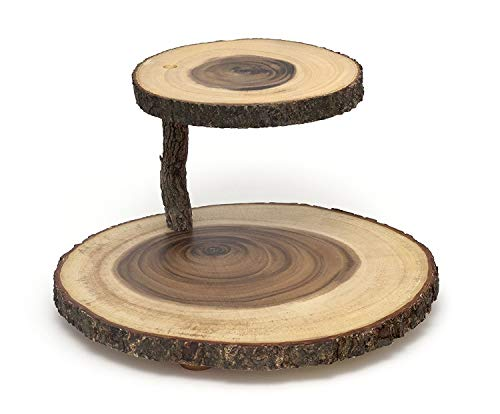 - Lipper International 1024 Acacia 2-Tier Tree Bark Server for Meats, Cheeses, and Crackers (3-Units)
