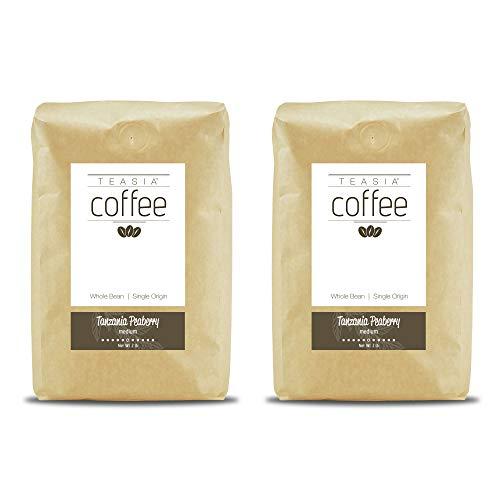 Teasia Coffee, Tanzania Peaberry, 2-Pack, Single Origin, Medium Roast, Whole Bean, 2-Pound Bag