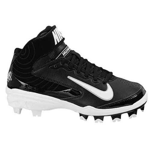 Nike Kids Huarache Strike Md Mcs GS Black/White Baseball Cleat 2 Kids US