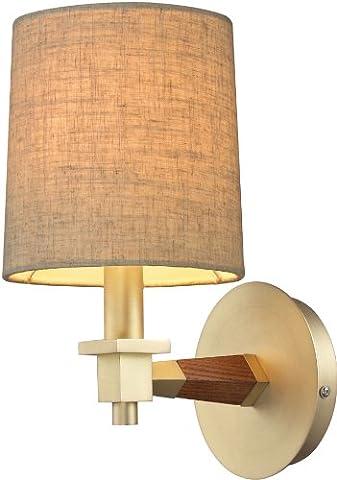 Elk 31320/1 6 by 11-Inch Jorgenson 1-Light Mahogany Wood Sconce, Satin Brass Finish - Tapered Angle Mahogany Finish