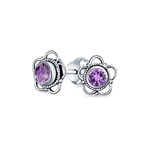 Bali Style Tiny Round Open Flower Gemstone Amethyst Stud Earrings For Women 925 Sterling Silver February Birthstone (Amethyst Flower Stud Earrings)