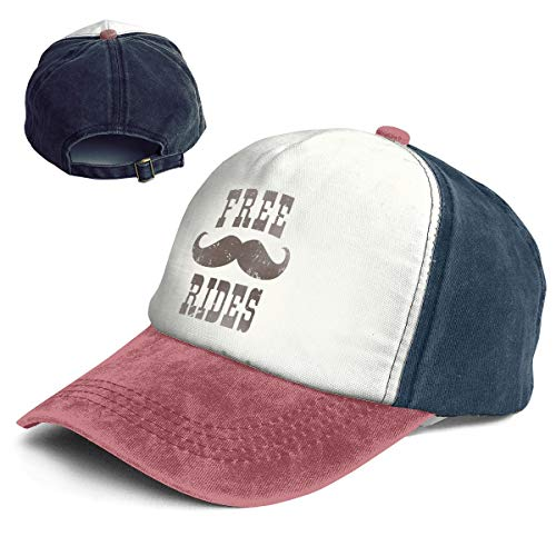 Free Mustache Rides Adult Washed Trucker Baseball Cap Hat]()