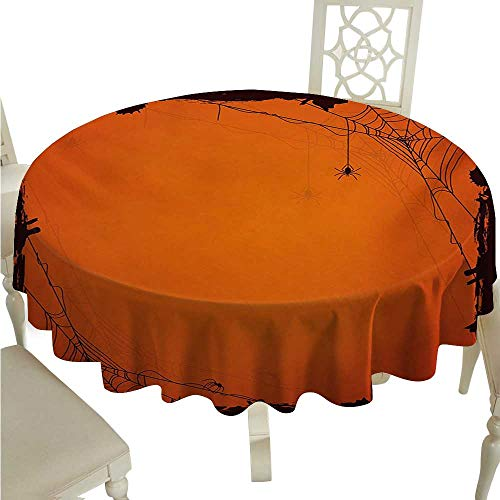Spider Web Round Polyester Tablecloth Grunge Halloween Composition Scary Framework with Insects Abstract Cobweb Washable Polyester - Great for Buffet Table, Parties, Holiday Dinner, Wedding & More D3 ()