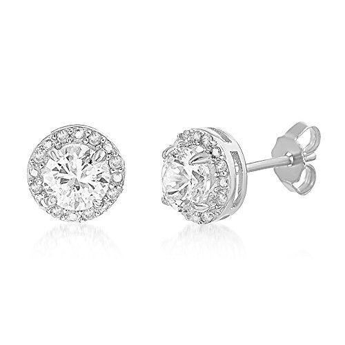 LESA MICHELE 1/10 Cttw Genuine Diamond & Lab Created White Sapphire Stud Gift Earrings for Women in Rhodium Plated 925 Sterling Silver (Created Lab Ring Sapphire)
