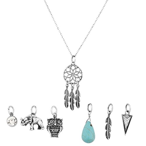 [Lux Accessories Dreamcatcher Owl Elephant Spear Arrow Head Tribal Leaf Crystal Floral Interchangeable Charm Pendant Necklace (7] (Mens Owl Costumes)