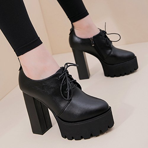 Thick Bottom Are Europe Match Tie With Shoes Deep Thick Heels Shoes Waterproof KPHY High Female 11Cm Black Autumn All YwqqzO