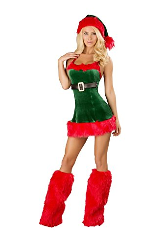 Roma Costume Women's 1 Piece Santa's Envy-Red Green, Red/Green, Small/Medium Adult Sexy Christmas Elf