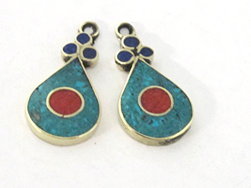 2 pieces - Tibetan silver teardrop shape charm pendants with turquoise coral inlay from Nepal - PM513A