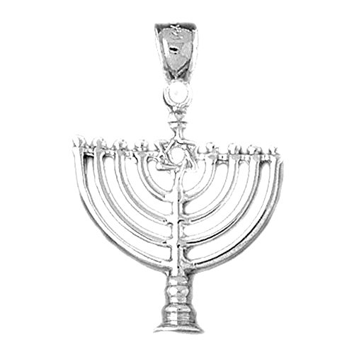 Jewels Obsession Menorah with Star of David Charm Pendant | 14K White Gold Menorah with Star of David Pendant - 33 mm