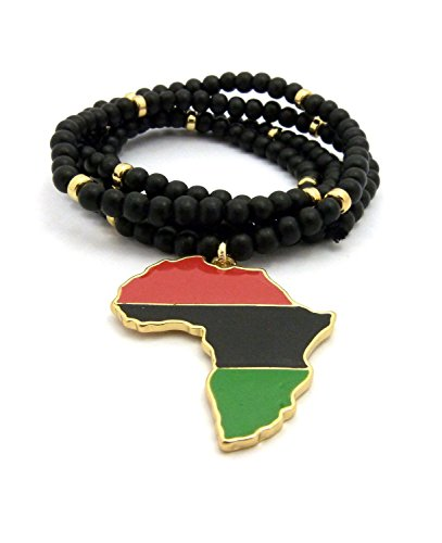 MENS MULTICOLOR AFRICA MAP RED BLACK GREEN PENDANT 6MM 30