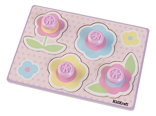 KidKraft Girls Wooden Flower Jumbo Peg Puzzle, (4 Piece)