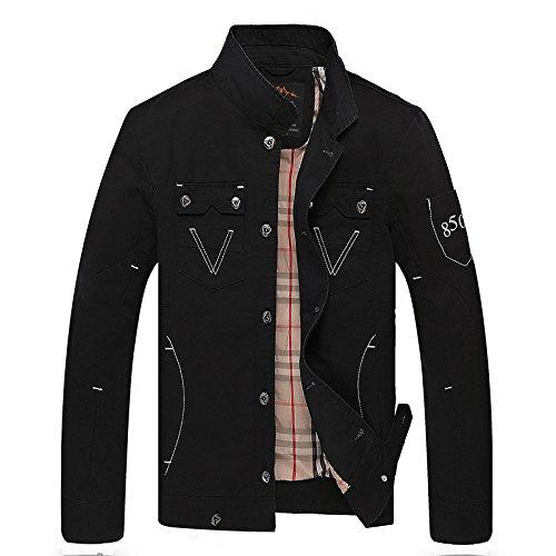 noir XXXL Hommes's Décontracté Veste Veste Coton col Manteau de Couleur Solide Stand