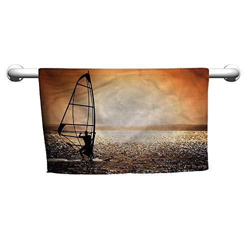 - flybeek Hand Towel Coastal,Windsurfer at Sunset,Towel Rings for Bathroom
